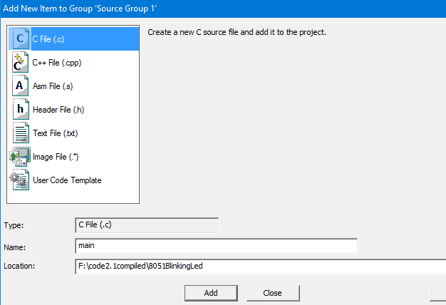 Creating a project in keil (uVision IDE)for 8051 - iCircuit